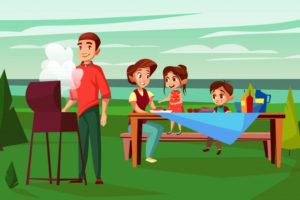 rodzina-przy-grilla-piknik-ilustracja-kreskowka-projekt-ojca-mezczyzna-smazyc-przy-bbq-grillem_33099-401